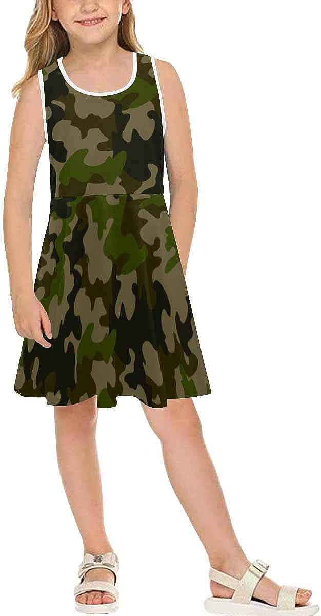 INTERESTPRINT Girls Summer Dress Sleeveless Crew Neck Dress Gray Chevrons on White (2T-XL)