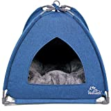 Winsterch Cat Bed Cave for Indoor Cats,Pet Tent Cave for Cats Small Dogs Kitten Bed with Removable Washable Cushion (18.5'' x 18.5'' x 15.8'', W-Blue)