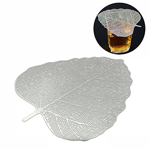 JUSTDOLIFE Mesh thee ei linden Maple Leaf gevormde praktische theezeef maasfilter Silver (linden Leaf)