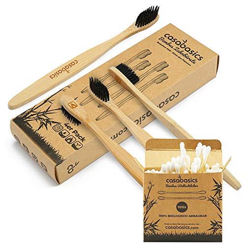 4 Bambus Zahnbürsten + 100 Bambus Wattestäbchen gratis dazu! | Vegan | biologisch abbaubar | 100% frei von BPA | Borsten mit Bambus-Holzkohle für beste Sauberkeit