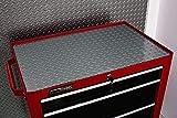 Resilia Premium Tool Box Liner Utility Mat - Garage Drawer & Shelf Organization, Workbench Storage, Heavy Duty Ribbed Plastic, Made in the USA, Silver Diamond Plate, 18 Inches x 25 Feet