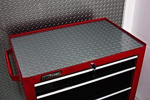 Resilia Premium Tool Box Liner Utility Mat - Garage Drawer & Shelf Organization, Workbench Storage, Heavy Duty Ribbed Plastic, Made in the USA, Silver Diamond Plate, 18 Inches x 6 Feet