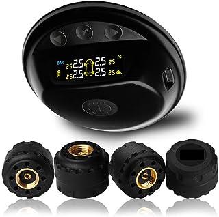 mewmewcat Monitor de pressão de pneu com 4 sensores de tampa de válvula Teclas de toque sem fio Sistema de monitoramento d...
