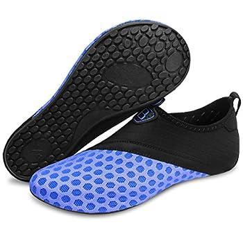 Barerun Unisex Water Shoes Aqua Socks for for Jogging Snorkeling Boating Canoeing Kayaking Swimming  M W 6.5-7.5  Black Blue