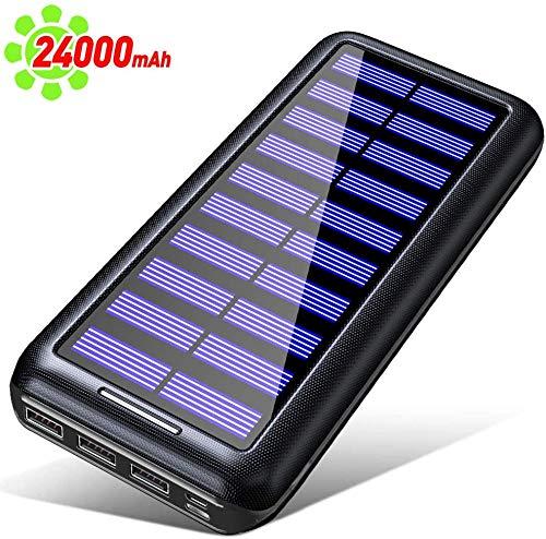 Gnceei Batterie Externe, 24000mah Solaire Power Bank 【2020 Version à économie D'énergie 】 Charge Rapide Chargeur Portable avec 3 USB Ports,pour Tous Smartphones Tablettes