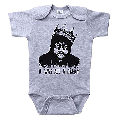 Baffle Biggie Smalls Baby Onesie/IT was All A Dream/B.I.G. Infant Bodysuit (12M, Grey SS)