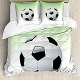 ABAKUHAUS Deportes Funda Nórdica, El fútbol del balón de fútbol, Decorativo, 3 Piezas con 2 Funda de Almohada, 155 x 220 cm, En Blanco y Negro