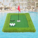 Floating Golf Putting Green, Artificial Grass for Golf Practice, Golf Practice Putting Mat, Course Putting Practice Set Equipment Indoor and Outdoor (Green)