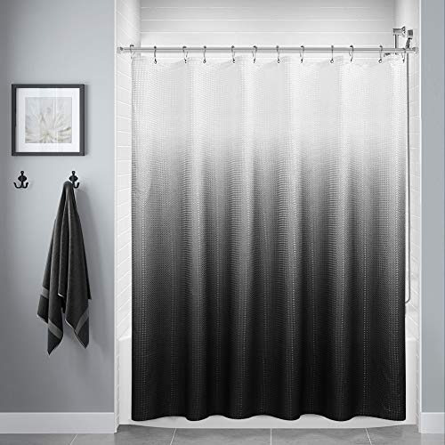 Black Shower Curtain, Polyester Ombre Bath Shower Curtains for Bathroom, Textured Fabric Waterproof Shower Curtain Liner with 12 Hooks,Machine Washable(72 x 72 inch,Black)