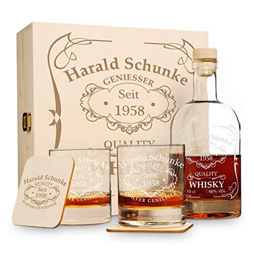 polar-effekt 6 TLG Geschenk-Set in Holzkiste mit Gravur - 2 Whiskygläser, 2 Untersetzer und Whisky-Karaffe in Geschenk-Box - Personalisiert zum Geburtstag - Motiv Quality Whisky