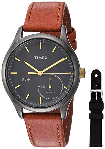 Timex Women's TWG013800 IQ+ Move Activity Tracker Brown Leather Strap Smartwatch Set With Extra Black Silicone Strap