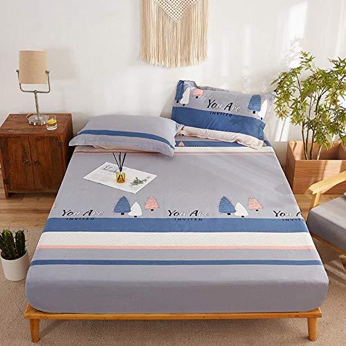 OQQE 1 Uds, Funda de colchón de Cama con Estampado de algodón, sábana Ajustable, Colcha, Protector de colchón, protección de Cama, sábanas de Lujo