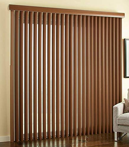 Custom Faux Wood Printed Real Grain Vertical Blinds Choose Size, Color, Mount and Stacking Option (72 1/8' Thru 84', 72 1/8' Thru 84')