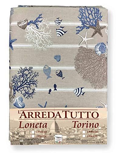 Miros Drap 1 place, idéal comme tissu d'ameublement, couvre-lit ou housse de canapé - Motif marin avec coraux - Bleu ciel