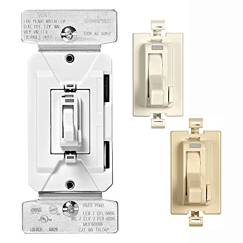 EATON Wiring TAL06P1-C2 AL Series 300W All Load 3-Way & Single Pole Toggle Dimmer with Preset and Color Kit, Light Almond, White, Ivory