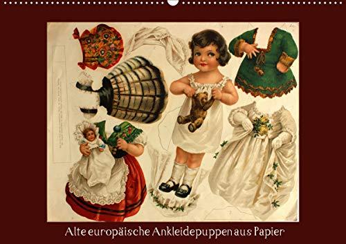 Alte europäische Ankleidepuppen aus Papier (Wandkalender 2021 DIN A2 quer)