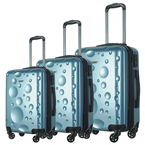 HyBrid & Company Luggage Set Durable Lightweight Spinner Suitcase LUG3-628, 3 Pieces, Ice Blue
