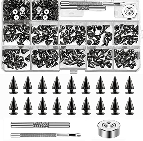 Libershine 200 Piezas Remaches Punk, Remaches Tachuelas con Tornillo, Tachuelas con Pinchos para Proyectos y Manualidades con Ropa de Piel - 7×10 mm
