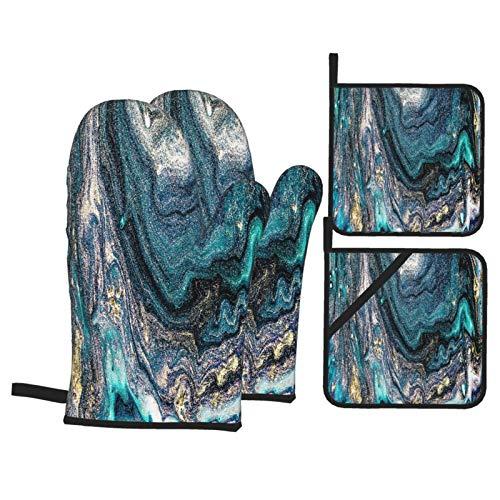 Juego de 4 Guantes y Porta ollas para Horno Resistentes al Calor Artgold Pintura Geoda Artista Obra Arte para Hornear en la Cocina,microondas,Barbacoa