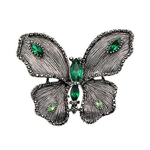 DZHT 1 broche de mariposa vintage con diamantes de imitación de atmósfera para mujer, elegante broche de insectos (color B: B)