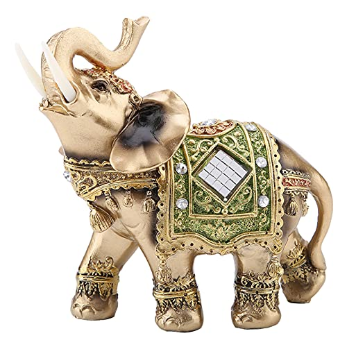Tyenaza Elephant Statue Sculpture Lucky Feng Shui Green Elephant Statue Sculpture Wealth Figurine Gift Home Decoration(Large)