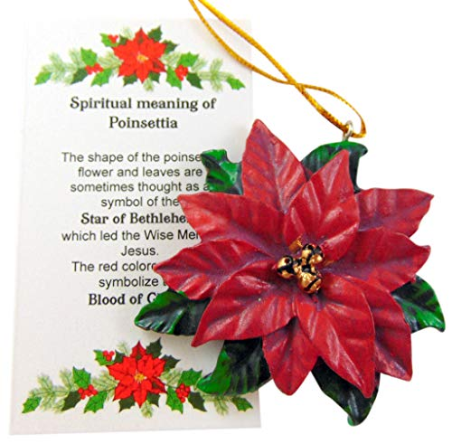 Poinsettia Ornament Flower Christmas Decoration with Card Set, 3 Inch