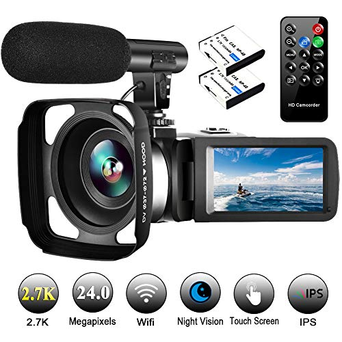 Video Camera Camcorder with Microphone Vlogging Camera YouTube Camera Recorder 2.7K Ultra HD 30FPS 24.0MP Wifi IR Night Vision 3.0' LCD Touch Screen