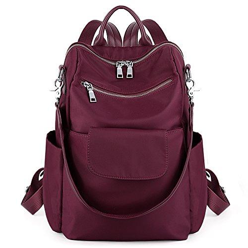 UTO Women Backpack Purse 3 ways Oxford Waterproof Cloth Nylon Ladies Rucksack Shoulder Bag Red