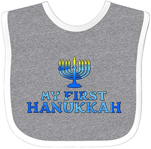 Inktastic My First Hanukkah with Menorah Baby Bib Heather/White