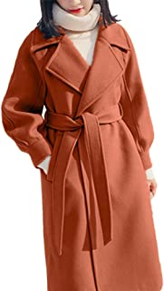 LISTHA Lapel Wool Coat Women Trench Long Jacket Winter Belt Overcoat Outwear