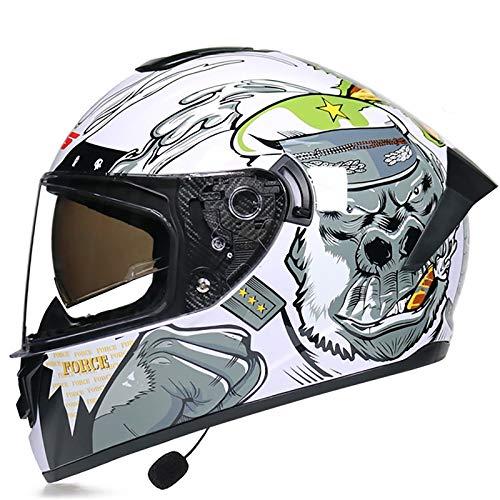 Casco De Motocicleta Integrado Bluetooth,Casco Integral De Moto De Visera Doble Con Visera Completa DOT/ECE Para Hombres Y Mujeres Adultos,Cruiser Scooter E,S 55~56CM