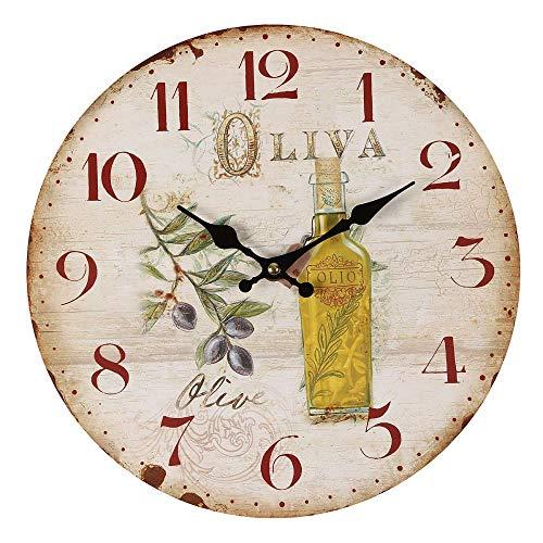 Ambiente Haus Oliven Wanduhr 28cm Dekouhr Küchenuhr Holz Uhr Nostalgie Landhaus Quarzuhr NEU
