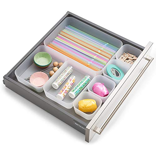 Zeller 14701 Schubladen-Einteiler, 7-er Set, Kunststoff, transparent, ca. 26,5 x 18,5 x 4,5 cm