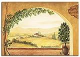 Artland Leinwandbild Wandbild Bild auf Leinwand 70x50 cm Wanddeko Fensterblick Fenster Toskana Landschaft Italien Aussicht Mediterran T4MP