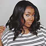 14 Inch Body Wave Lace Front Wig Human Hair Pre Plucked Brazilian Body Wave 4x4 Lace Closure Wigs with Baby Hair 9A Natural Glueless Shoulder Length Human Hair Wigs 150% Density Virgin Hair Lace Wigs