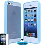 Easygoby Light Blue/Stylish TPU Hybrid Sleek Dual Tone Frame Rim Frosted Matte Clear Back Hardshell Case/Cover/Skin for Apple iPhone 5 /5S + Free Screen Protector + Custom Wristband