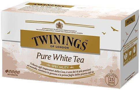 Twinings Speciality - Pure White Tea - Precioso Té Blanco con Gemas y las Primeras Hojas de la Planta de Té - Inspirado por los Emperadores de China - Perfume Fresco y en Disolución (25 Bolsas)