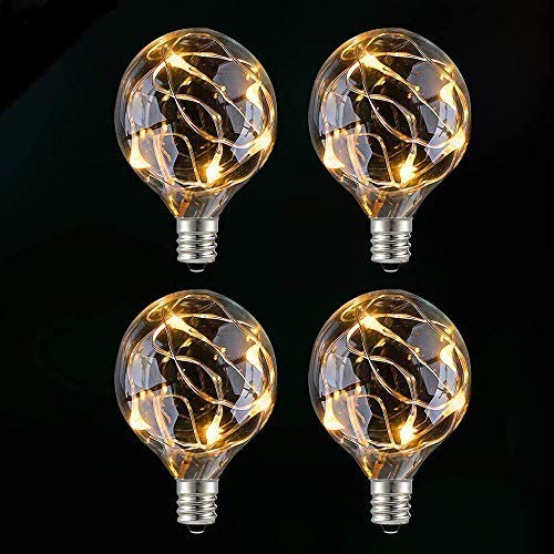 GlobaLink G40 LED Replacement Bulbs LED G40 Globe Light Bulbs for LED Outdoor Patio String Lights - Weatherproof Low Voltage Energy Saving LED Bulbs E12 Screw Base, Input Voltage 3-4.5V - 4 Pack