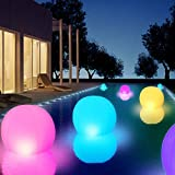 GEEDIAR Floating Pool Lights 2 Pcs,14' Inflatable Solar Powered Pool Light with Inflator,IP68 Waterproof Swimming LED Mood Lights with 16 Color Changing Outdoor Decorations Light for Garden and Pond …