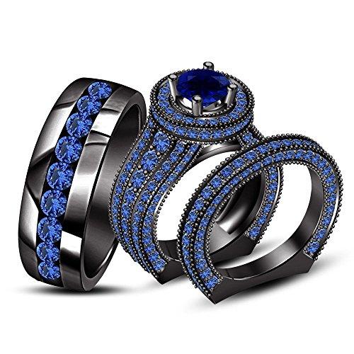 Silvernshine gioielli blu zaffiro 14K Black Gold FN .925da uomo/donna anello di fidanzamento set Trio e Argento, 13,5, colore: Nero , cod. SNSTRS55-BG-BU_222