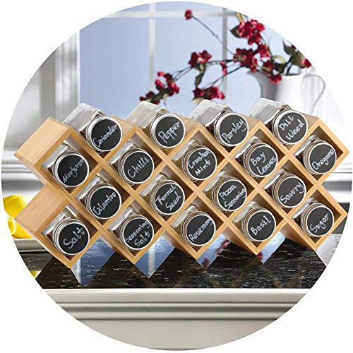 ecooe Rack de Especias de bambú con 18 frascos de Especias y frascos de Etiquetas de Aluminio para encimeras y encimeras de Cocina