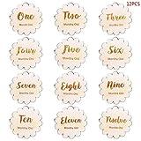 LINGZIA 12 Unids/Set Tarjeta de Hito de Bebé Hecha A Mano, Números de Hoja Vintage Grabado de Madera Infantes Regalo de Baño Recién Nacido Accesorios de Fotografía Set A