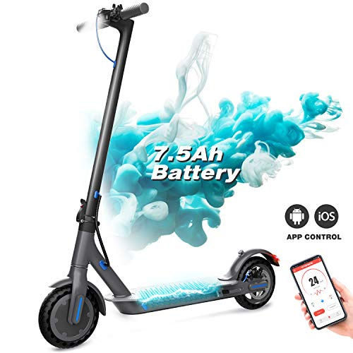 GeekMe Patinete Eléctrico, Scooter Eléctrico Plegable, Scooter Urbano con Pantalla LCD/Batería de 7,5 A/App/Bluetooth/Ultraligero para Adultos