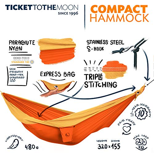 Ticket to the Moon Fair Trade & Handgemaakte 1-Persoons / Licht-Single/Compact–Hangmat Orange-Yellow Voor Op Reis, Kamperen En Alledaags Gebruik, L 3,2*1,55m, 480g, Uit Duurzaam Parachute Textiel Zijde Nylon, Opzet Tijd <1min., OEKO-TEX® 10J. Garantie