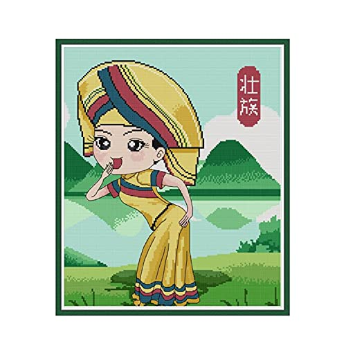 YEESAM ART Kits de punto de cruz sellados para adultos principiantes, chinos Zhuang Girl 11CT 44 × 51 cm Kit de costura de bordado DIY con patrones preimpresos fáciles divertidos de Navidad (niña)