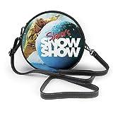 Yuanmeiju Bolso de hombro redondo Slava'S Snowshow 2 Nano Printing Fashion Leather One Shoulder Round Bag