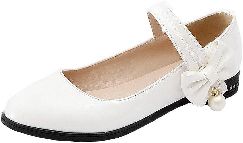 WeenFashion Women's Microfiber Buckle Low-Heels Soild Court shoes