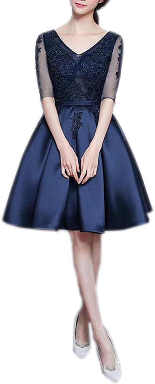 bluee Short V Neck Lace Host Ball Evening Dress