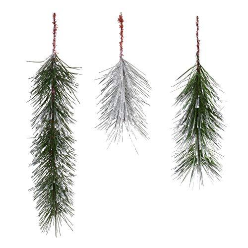 Amosfun Künstliche Tannenzweige für Weihnachtsgestecke, Weihnachtsdekoration, 3 Stück