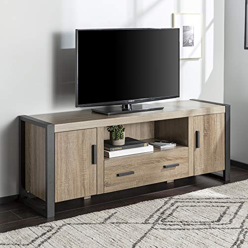 Walker Edison Industrial Wood and Metal Stand with Storage Cabinets for TV's up to 66' Living Room, 60 Inch, Grey/Brown